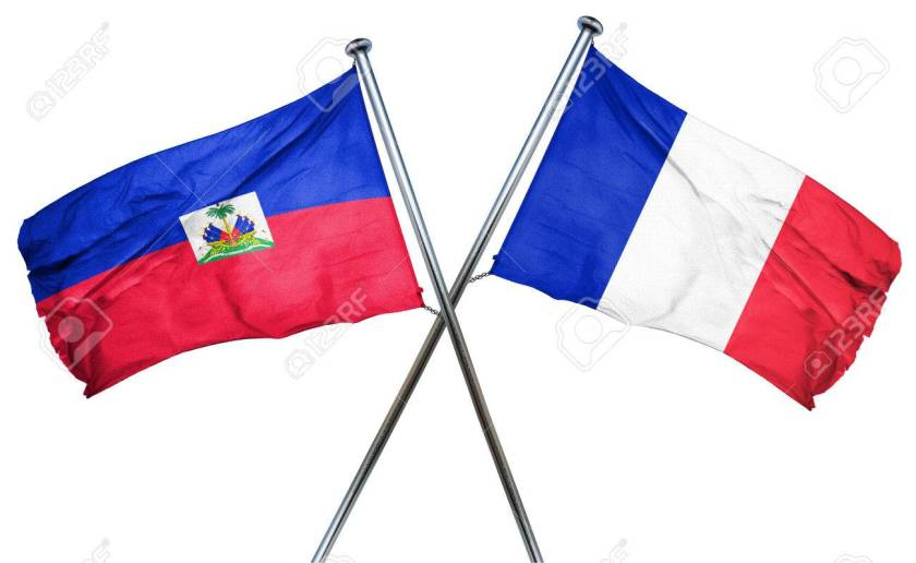 Haiti flag  combined with france flag