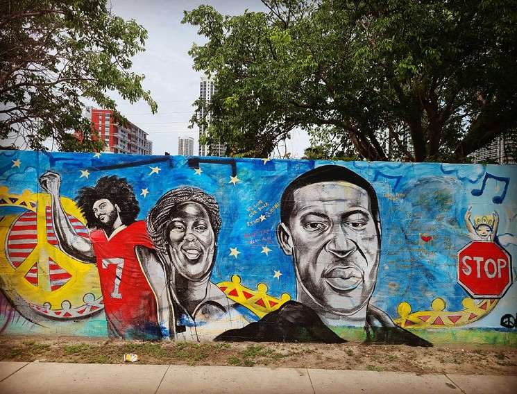 Kyle's Overtown mural honoring Kaepernick, Taylor and Floyd (Photo Kyle Holbrook)